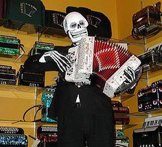 Skeletal accordion salesman