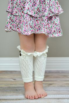 Kids Springtime Ivory Leg Warmers with Crochet Top
