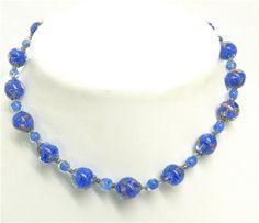 Vintage Art Deco Murano necklace. Venetian Italian art glass . Adventurine, sommerso.  $78.00