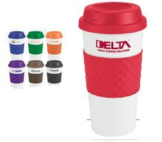 """Wake-Up Classic Coffee Cup 19 Oz. Color Banded Double wall insulation, Classic white plastic coffee cup, Contrasting bold color silicone texture grip center band, Matching color plastic twist-on lid, White gift box, Not microwave or dishwasher safe.  7 3/8"""" H x 2 7/8"""" Diameter  100: $3.29 1 color 1 location  [ XHPPH-HLFXU ]"""