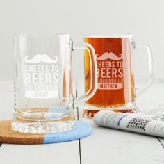 Make a toast this Father's Day with our Personalised 'Cheers To Beers' Tankard glass. The design is beautifully etched into our high quality tankard glass. This personalised tankard features a moust. Whisky Tumbler, Luxury Gifts For Women, Great Graduation Gifts, Personalized Gifts For Her, Beer Lovers, Best Dad, Gifts For Him, Best Gifts
