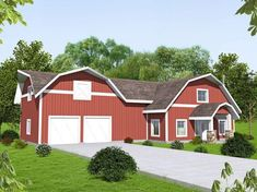 House Plan 85221 - Country, Farmhouse Style House Plan with 2875 Sq Ft, 4 Bed, 3 Bath, 2 Car Garage Barn Style House Plans, Garage House Plans, Country House Plans, Country Style Homes, House Floor Plans, Farmhouse Style, Car Garage, Industrial Farmhouse, Modern Farmhouse