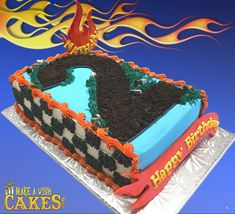 🚘 🔥 Hot trend right now is race-track number cakes! Mom's adding some to this one! Number Cakes, Cake Trends, Hot Wheels, Track, Sheet Cakes, Mom, Desserts, Tailgate Desserts, Deserts