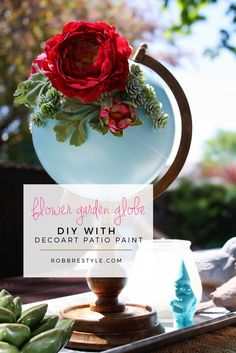 DIY Flower Garden Globe Patio Paint Project - a great idea to upcycle a thrifted or vintage globe