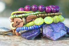 Bracelet | Heart | Charm | Purple | Green | Copper | XO Gallery | XO Gallery