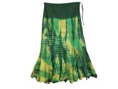 Amazon.com: Mogulinterior Bohemian Long Skirt Lemon Lime Tie Dye Skirt Cotton Tie Skirts: Clothing