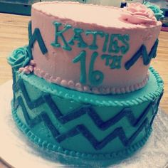 16th chevron birthday cake