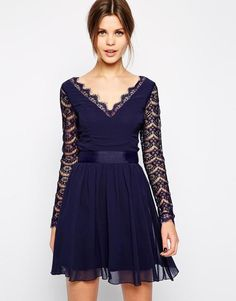 Elise Ryan Long Sleeve Skater dress with scallop RRP £22.00