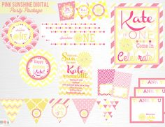 Pink Sunshine Party Printable Package by Print POP Party This is an example of what we can do, if you want to add/subtract items from this
