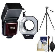 Vivitar Dedicated Digital Macro Ring Light Flash (for Canon Cameras) with Tripod + Accessory Kit