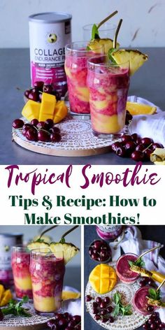 Have you ever wondered how to make a luscious, energy boosting and good for you #Tropical #smoothie? I've got a video showing you the tricks to make a delicious two layer smoothie recipe that you'll be making over and over! #Smoothies Tropical Smoothie Recipes, Mango Banana Smoothie, Cherry Smoothie, Weight Loss Smoothie Recipes, Vegan Smoothies, Fruit Smoothies, Good Healthy Recipes, Sweet Recipes, Healthy Drinks