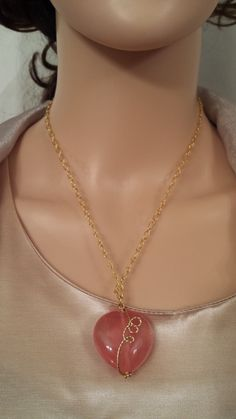 Cherry Quartz Puff Pendant Necklace Wire Wrapped Glass Brass Chain Casual Everyday Office Unique Gift for Women LGBStyles Womens Jewelry by LGBStyles on Etsy