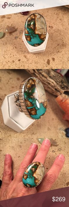 Navajo Royston Turquoise & Sterling ring size 11 This is a wonderful handmade piece by the Navajo artist Freddy Platero. This Royston Turquoise stone is one of a kind.  The length of the ring is 1 5/8 inches long and 1 inch wide. This awesome piece is signed by the artist and stamped Sterling.   Thank you for looking Jewelry Rings