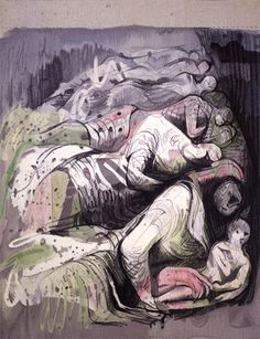 Row of Sleepers, Tapestry 1986 based on drawing by Henry Moore. Reproduced by the Henry Moore Foundation