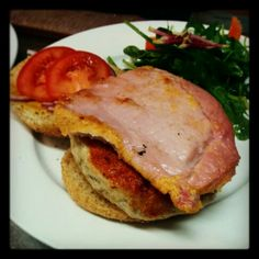 9oz Homemade Turkey Burger with Peameal Bacon, Tomato, Red Onions and a Mixed Green Salad