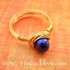 MettaMoon Blue Pearl Gold Love Ring $12 NOW ON SALE www.MettaMoon.com