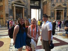 Johnston (center) and students at the Pantheon.