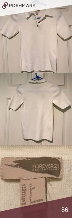 NWT Forever 21 Ivory Collared Shirt New with tags, never been worn, small (looks really itty bitty) Ivory collared pullover shirt from Forever 21. Forever 21 Tops Tees - Short Sleeve