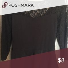 Long sleeve lace top Lace sleeves plum shirt Express Tops Blouses