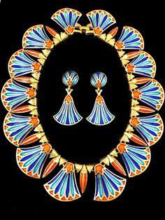 RARE 1960 CROWN TRIFARI EGIZIANO REVIVAL King Tut ORECCHINI COLLARE Necklace Set