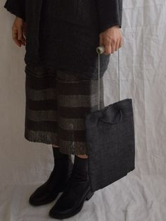 Mujo. by Elizabeth Leslie - Tote Bag - Sumi Handwoven Japanese silk and hand formed and fired raku pottery closure www.mujostore.com
