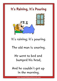 I chose this Nursery Rhyme as I still sing it every time it rains to me its one of the most common nursery rhymes used. This nursery rhyme to me and probably everyone is referring to the rain. © Copyright SparkleBox Teacher Resources (UK) Ltd Nursery Rhymes Lyrics, Nursery Rhymes Preschool, Nursery Rhymes Songs, Kindergarten Songs, Preschool Songs, Nursery Rhythm, Aussie Childcare Network, Nursery Rymes, Its Raining Its Pouring