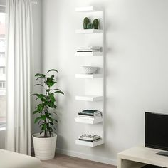 IKEA LACK, Wall shelf unit, white, Shallow shelves help you to use the walls in your home efficiently. They hold a lot of things without taking up much space in the room. Choose if you want to mount the shelf horizontally or vertically on the wall. Ikea White Shelves, Ikea Lack Wall Shelf, Lack Shelf, Wall Shelf Unit, Ikea Floating Shelves, Ikea Book Shelves, Narrow Wall Shelf, Ikea Shelf Unit, Kallax Shelf