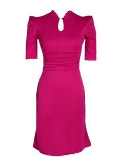 Elegant Band Collar Pure Color Bodycon-dress Bodycon Dress from fashionmia.com
