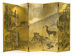 Leon Jallot FIVE-PANEL FOLDING SCREEN, lacquered wood and patinated metal, circa 1928.