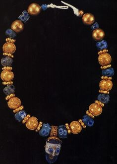 Phoenician glass and Etruscan gold bead necklace. British Museum