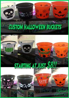 Personalized Halloween Trick or Treat Buckets - Starting at just $8!!