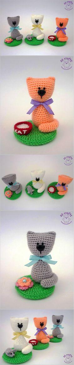 88 Crafts: Котёнок на полянке (+описание) | Вязаные игрушки | Постила