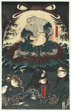 Yoshitora (woodcut), The immortal Gama Sennin seated in front of an enormous toad watching smaller magic toads battling before him.  The Japanese legend of Gama Sennin (the Toad Immortal) is based on a 10th century Chinese alchemist and immortal named Liu Hai.