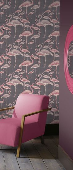 Flamingo Beach Marshmallow Designer Wallpaper