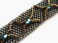 Seed Bead Bracelet, Peyote Stitch, Swarovski Crystal, Delica, Metallic, Criss Cross, Tigers Eye, Brown, Blue, Jet 2XAB, Shiny, Earthy, Cafe