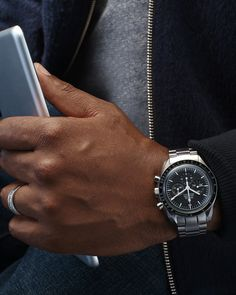 """The Professional or """"Moonwatch"""" is the best known of Omega's Speedmaster collection. And it was the first watch worn by an astronaut walking on the moon, so you can't beat its back-story. Says FremStar, """"It has really withstood the test of time."""" What keeps it exciting for modern collectors is that it comes in so many interesting variations. """"Just check out the hash tag #SpeedyTuesdays,"""" he says. $5,250, omegawatches.com; Lucio Castro jacket; J.Crew T-shirt and jeans - Esquire.com"""