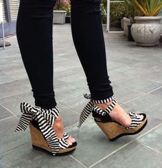 Black Skinny Jeans & Stripe BowTie Wedges <3 have these & they are my favorite summer shoes