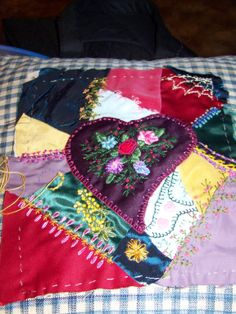 My first crazy quilt...from a class with Martha Offut at Quilt Camp at Cedar Lakes