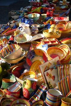 French pottery in a market in Provence
