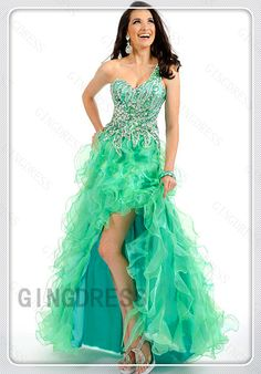 High Low Organza A-line Sweetheart One Shoulder Homecoming Dress