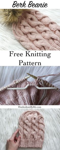 free knitting pattern cables cable knit beanie winter hat ski hat braid beanie easy beginner friendly hooked on tilly how to knit tutorial learn to knit Beginner Knitting Patterns, Sweater Knitting Patterns, Free Knitting, Crochet Patterns, Baby Patterns, Knitting Tutorials, Knitting And Crocheting, Free Knitted Hat Patterns, Knitting Beginners