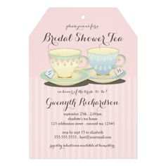 Chic Teacup Duet Bridal Shower Tea Party Card A lovely pair of teacups in delicate china patterns symbolizes the happy couple to be wed in this pretty invitation for a Bridal Shower Tea. Sweet details include personalized teabag labels peeking out of each teacup that you customize with the couple's initials. Tag shape also mimics the teabag label and looks lovely with a pretty matching ribbon tied through the hole.