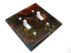 Black Fireworks Double Light Switch Cover by ModernSwitch on Etsy, $7.00