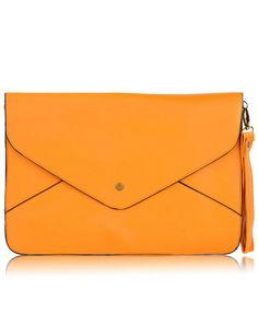 Dark Yellow Vintage PU Leather Envelope Clutch Bag