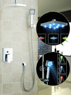 "82.47$  Buy here - http://aliist.worldwells.pw/go.php?t=32323160293 - ""Shivers Shower Set Water Power LED Light 8"""" Shower Head Bathroom Rainfall 57702A Bathtub Chrome Sink Torneira Faucets,Mixers Tap"" 82.47$"
