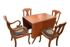 1950'S WILLETT DROPLEAF DINING TABLE 4 CHAIRS NEEDLEPOINT BASE