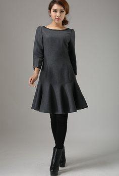 drop waist dress, wool dress, Gray dress, long sleeve dress, fall dress, mini dress, ladies dress,womens dresses, boat neck dress 746
