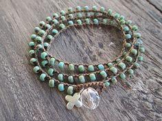 Turquoise rustique Crochet écharpe bracelet collier - béni - sterling silver cross bleu vert rustique spirituelle boho par slashKnots
