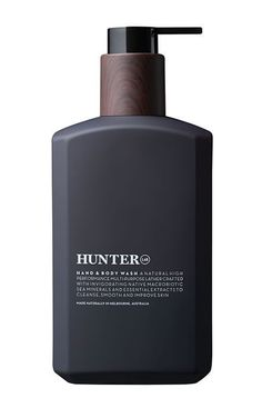 That design though. The restraint… Hunter Lab Hand & Body Wash Damn. That design though. The restraint… Hunter Lab Hand & Body Wash Beauty Packaging, Cosmetic Packaging, Bottle Packaging, Brand Packaging, Product Packaging Design, Wood Packaging, Cosmetic Design, Packaging Design Inspiration, Bottle Design