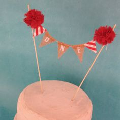 Burlap Cake banner smash cake Red white by Hartranftdesign on Etsy, $24.00